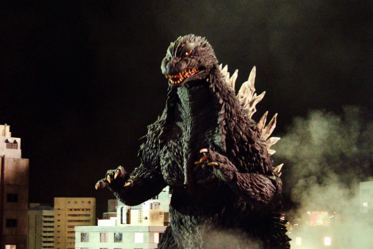 A still from 1956's Godzilla: King of the Monsters!