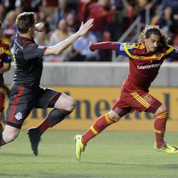 Real Salt Lake forward Devon Sandoval (49) races for a shot on goal during a game at Rio Tinto Stadium in Sandy on Saturday, March 29, 2014.