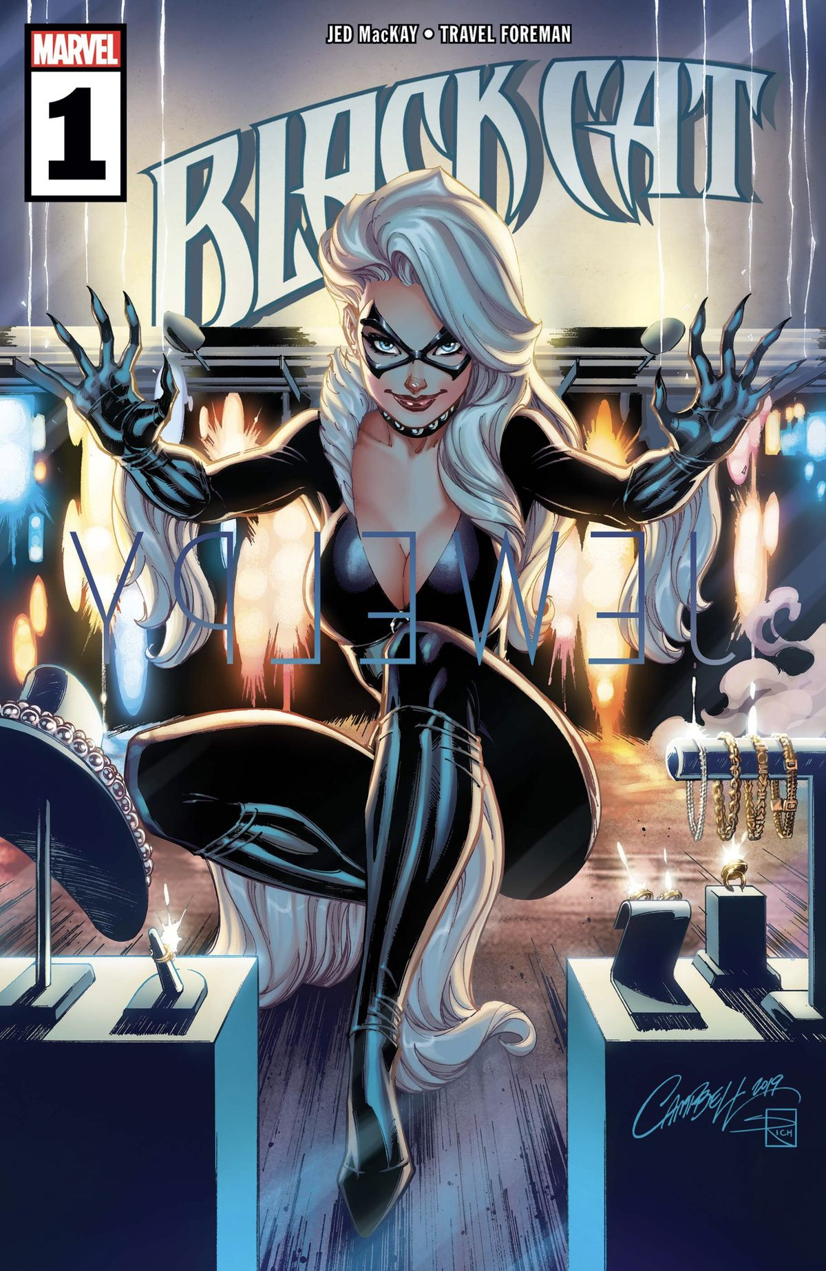 Felicia Hardy, the Black Cat, sits on a balcony, claws scratching at the glass in front of a display of jewelry, on the cover of Black Cat #1, Marvel Comics (2019).