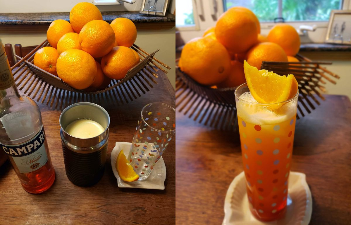 Diptych of a cocktail being made with Campari and orange juice.