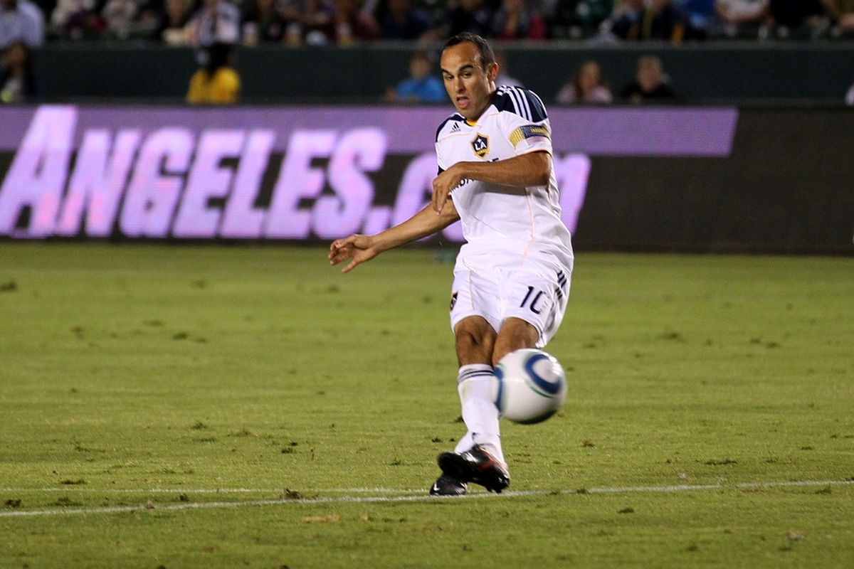 CARSON, CA - SEPTEMBER 9:   Landon Donovan #10 of the Los Angeles Galaxy scores a goal in the first half against the Colorado Rapids at The Home Depot Center on September 9, 2011 in Carson, California.    (Photo by Stephen Dunn/Getty Images)