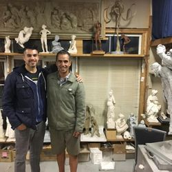 Utah sculptor LeRoy Transfield, right, poses in his sculpting studio in Orem. His art is the winning design for the 2018 World War I American Veterans centennial silver dollar.