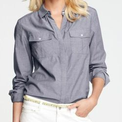 """<a href=""""http://www.anntaylor.com/ann/product/AT-Petites/AT-Petite-Blouses-Tops/Petite-Chambray-Camp-Shirt/286514?colorExplode=false&skuId=11715146&catid=cata000045&productPageType=saleProducts&defaultColor=1443"""">Petite Chambray Camp Shirt</a>, $34.99 (wa"""