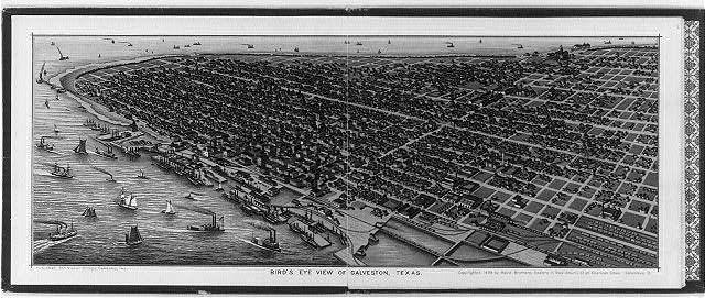Bird's-eye view of Galveston, Texas, from 1888