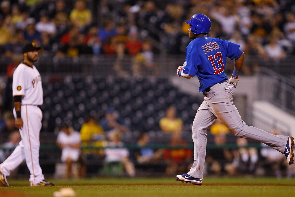 Starlin Castro of the Chicago Cubs rounds second base after hitting a solo home run against the Pittsburgh Pirates during the game on August 3, 2011 at PNC Park in Pittsburgh, Pennsylvania.  (Photo by Jared Wickerham/Getty Images)
