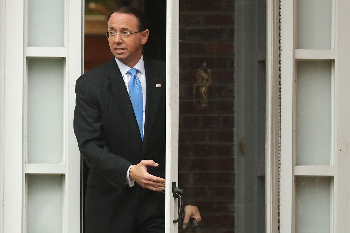 Deputy Attorney General Rod Rosenstein, pictured here leaving his home on September 25, 2018, will meet with President Donald Trump's GOP allies in Congress about his reported push to secretly record the president and invoke the 25th Amendment,