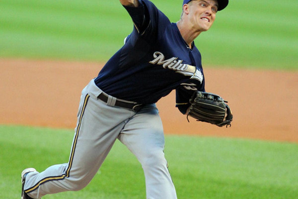 Jun 22, 2012; Chicago, IL, USA; Milwaukee Brewers starting pitcher Zack Greinke (13) delivers a pitch in the first inning against the Chicago White Sox at US Cellular Field. Mandatory Credit: Dennis Wierzbicki-US PRESSWIRE