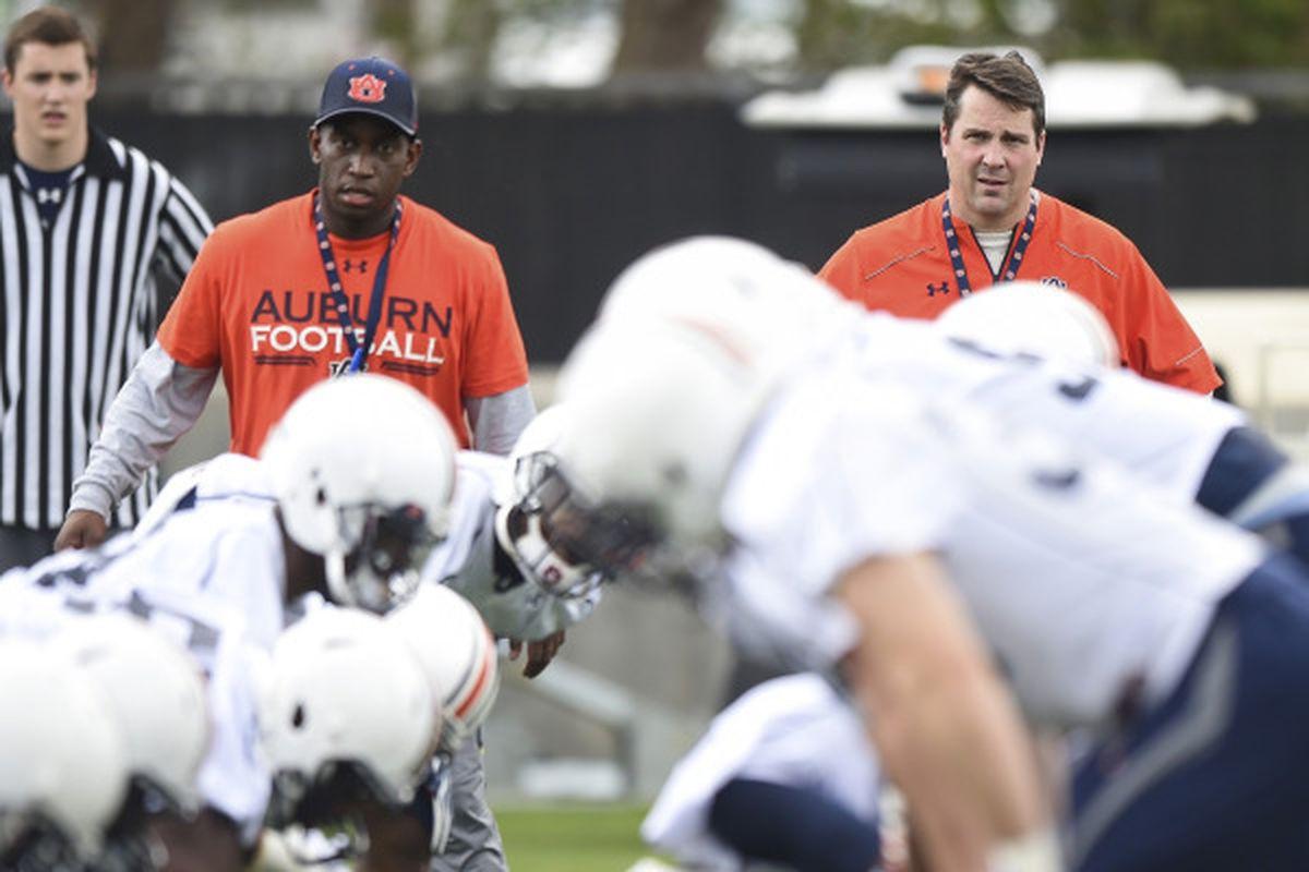 Coach Tavaris Robinson (left) and Defensive Coordinator Will Muschamp. Auburn Spring Practice in Auburn, Ala. on Tuesday, March 10, 2015.