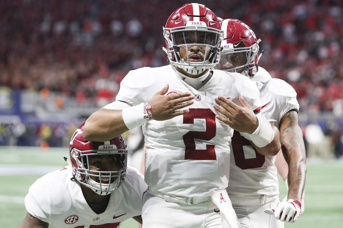 Alabama quarterback Jalen Hurts (2) celebrates after scoring the during the fourth quarter against Georgia during an NCAA college football game for the Southeastern Conference championship Saturday, Dec. 1, 2018, in Atlanta. (AJ ReynoldsAthens Banner-Hera