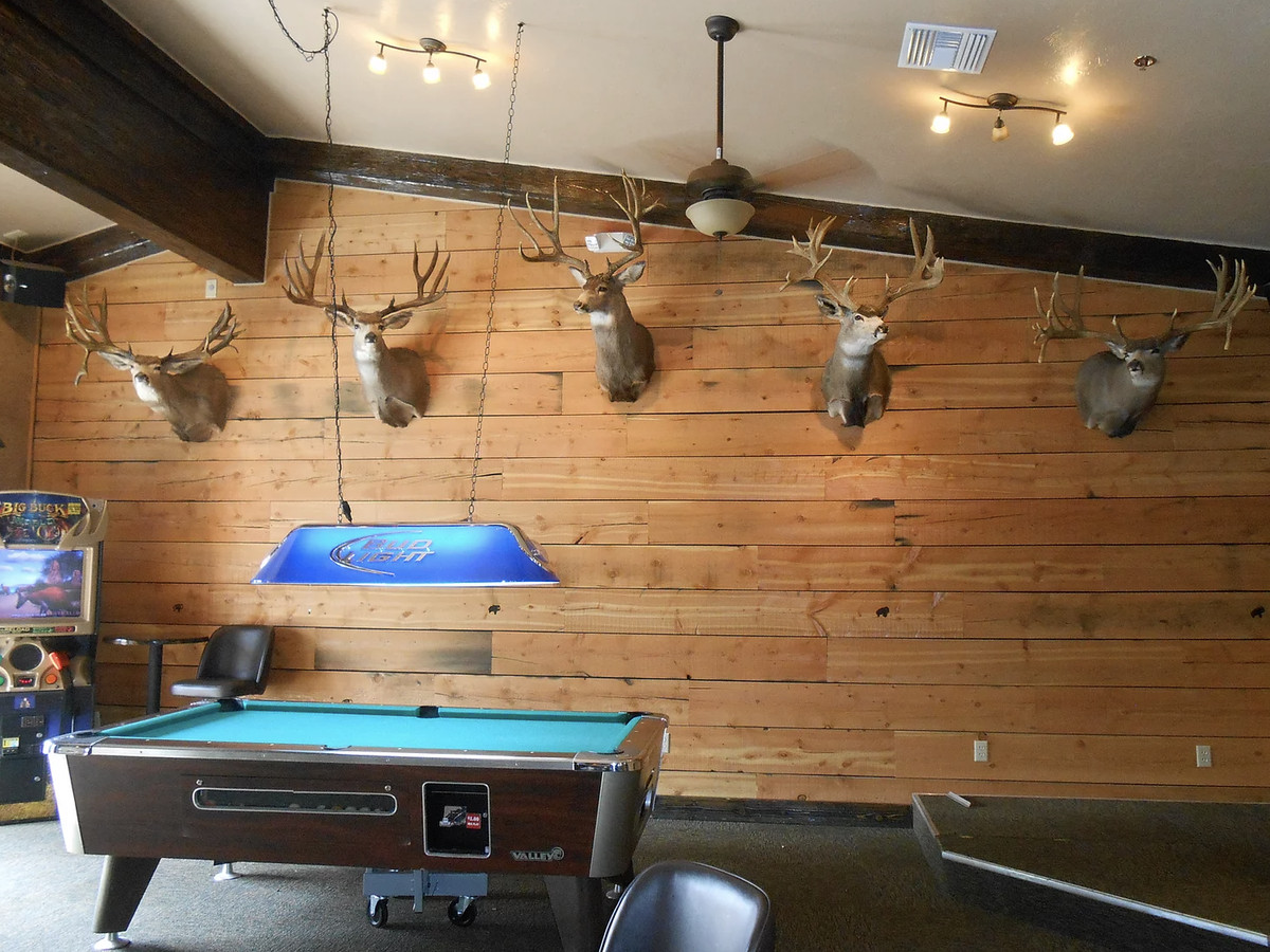 A barroom with wooden plank walls, decorated with deer head trophies and a pool table in the middle of the floor.