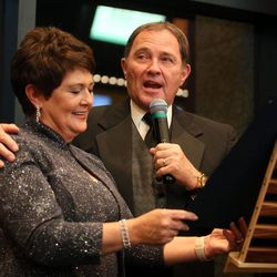 Gov. Gary Herbert  and his wife, Jeanette, declare Hale Centre Theatre Day during the grand opening of the new complex in Sandy on Thursday, Nov. 16, 2017.