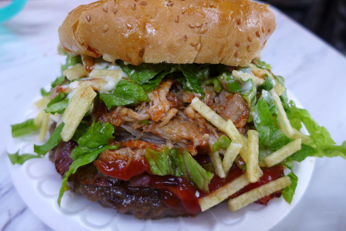 The maracucha boasts four meats, all in one burger