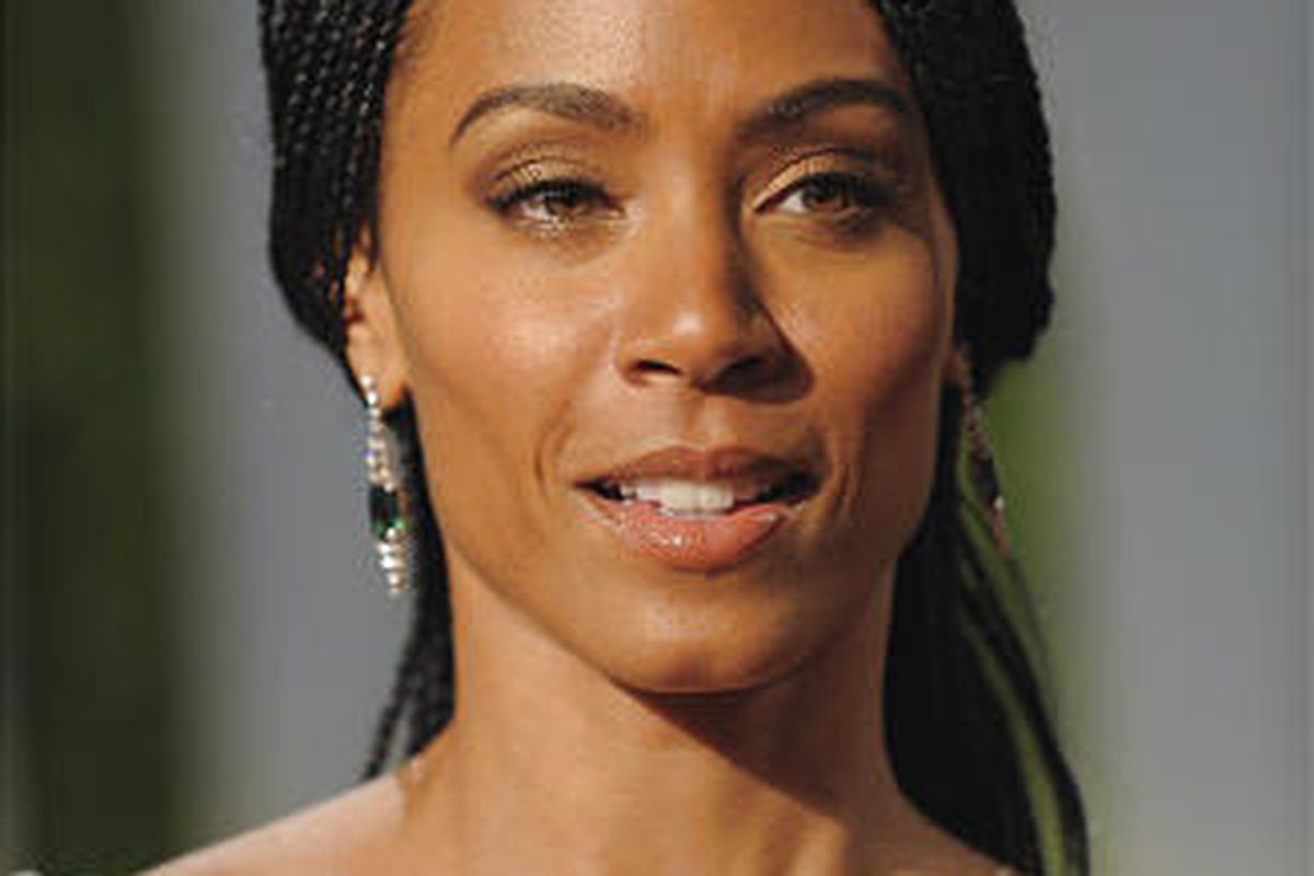 Actress and singer Jada Pinkett-Smith arrives at the Vanity Fair Oscar party in West Hollywood, Calif. on Feb. 22.