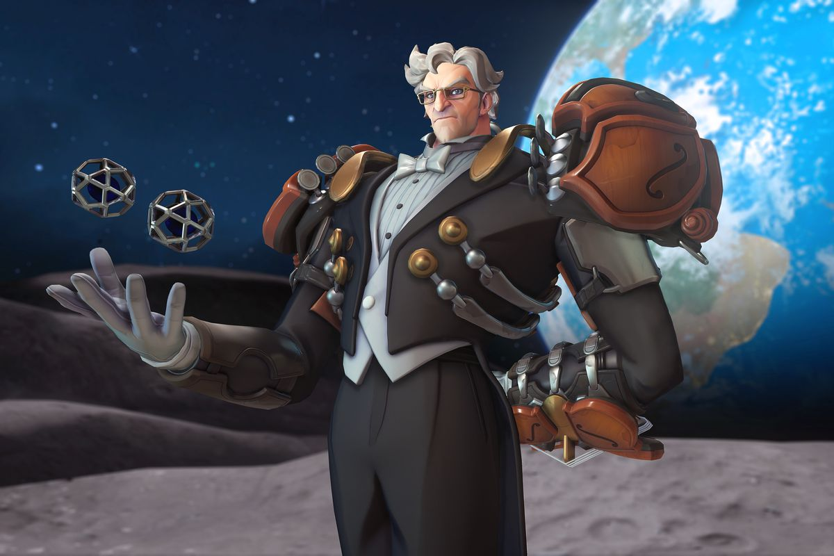 A hero shot of the Maestro Sigma skin from Overwatch