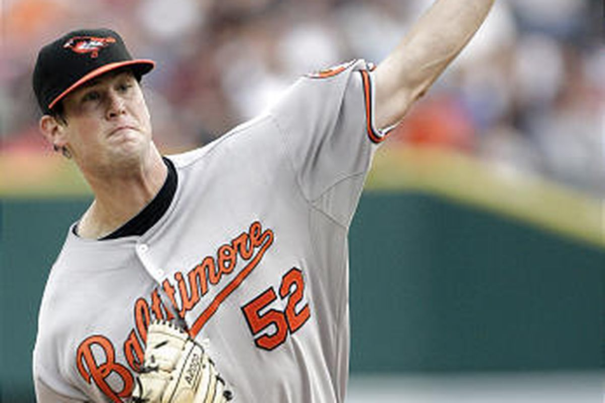 Baltimore Orioles starter Brian Matusz pitches against the Detroit Tigers in the first inning of a baseball game Tuesday, Aug. 4, 2009 in Detroit. (AP Photo/Duane Burleson)