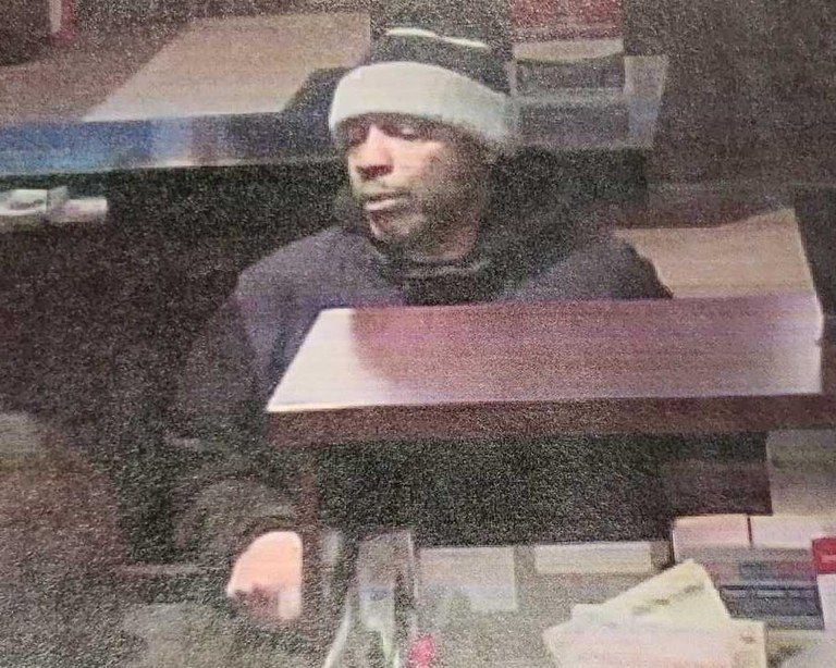 Surveillance image of the man suspected in a bank robbery Jan. 31, 2019, at a Lakeside Bank branch at 1350 S. Michigan Ave.