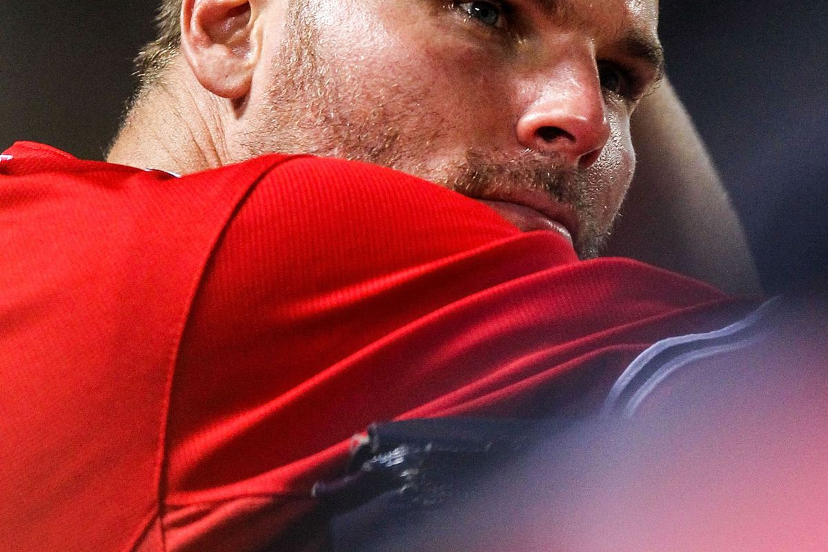 July 27, 2012; Atlanta, GA, USA; Atlanta Braves starting pitcher Ben Sheets (30) leans on the dugout fence during the game against the Philadelphia Phillies at Turner Field. Mandatory Credit: Daniel Shirey-US PRESSWIRE