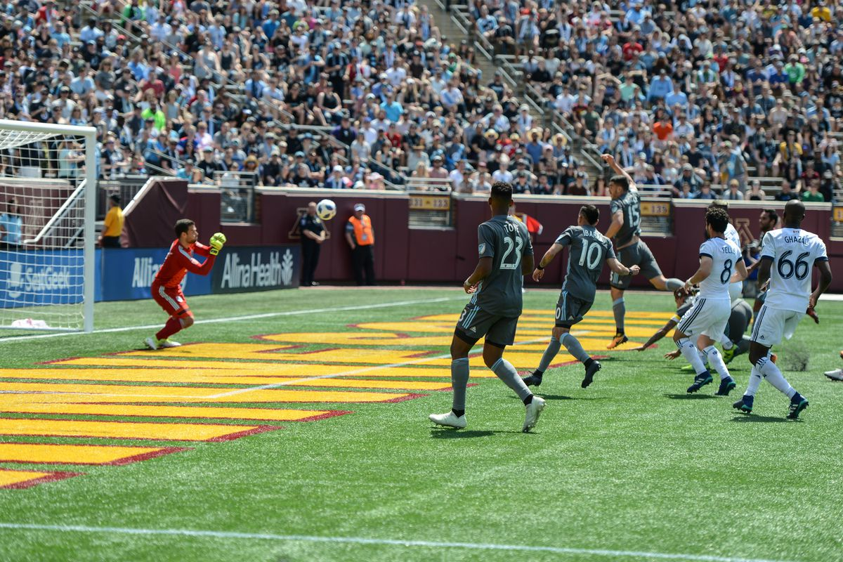 Marinovic makes a save Minnesota United's 1-0 victory over the Vancouver Whitecaps at TCF Bank Stadium.