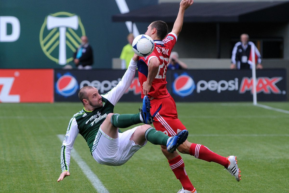 Austin Berry, along with Jalil Anibaba, are going to have a tall task ahead of them trying to shut down the Red Bulls potent attack.  This most certainly will be a major key to the match.  (Photo by Steve Dykes/Getty Images)