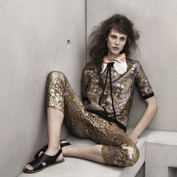 Blouse, $79.95; Pants, $79.95; Silk scarf, $19.95; Sequined collar, $19.95; Sandals, $59.95