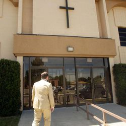 Former state Sen. Dan Liljenquist enters the Salt Lake Christian Center prior to speaking to pastors  in Salt Lake City  Tuesday, June 12, 2012.
