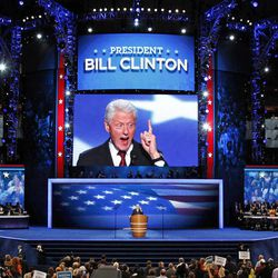 """FILE - In this Sept. 5, 2012 file photo, former President Bill Clinton addresses the Democratic National Convention in Charlotte, N.C. Clinton's convention speech nominating President Barack Obama for a second term left Piers Morgan of CNN star-struck: """"Already the best speech of either convention,"""" the prime-time talk show host tweeted. """"An oratorical genius right up there with Churchill, Kennedy, MLK and Mandela."""""""