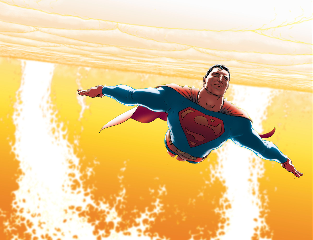 Superman glides past the surface of the sun in All-Star Superman, DC Comics (2005).