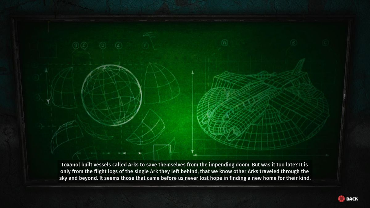 A game screen showing blueprints for a space vehicle, with a narration explaining that humans boarded this ship and left Earth long ago, after ruining the planet's environment