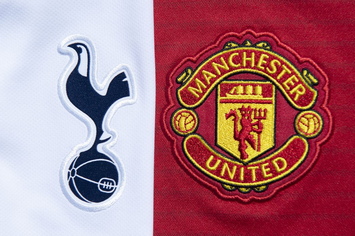 The Tottenham Hotspur and Manchester United Club Badges