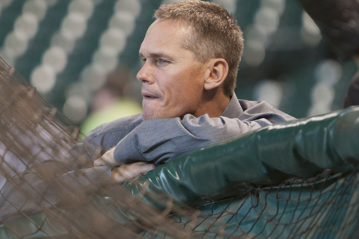 HOUSTON - MAY 18:  Former Houston Astro Craig Biggio watches batting practice before the first game of the Silver Boot Series against the Texas Rangers at Minute Maid Park on May 18, 2012 in Houston, Texas.  (Photo by Bob Levey/Getty Images)