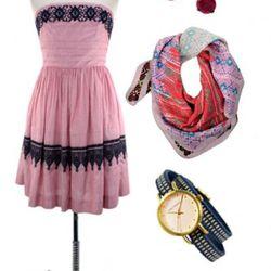 Pinstripe Party Dress, $157; Jane Diaz Ruby Earrings, $65; Epice<br />Cherry Tribal Silk Scarf, $158;  Tokyo Bay Blue Obi Watch, $110.