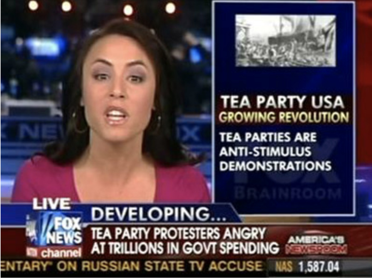 Television anchor appears in front of graphics supporting the Tea Party.