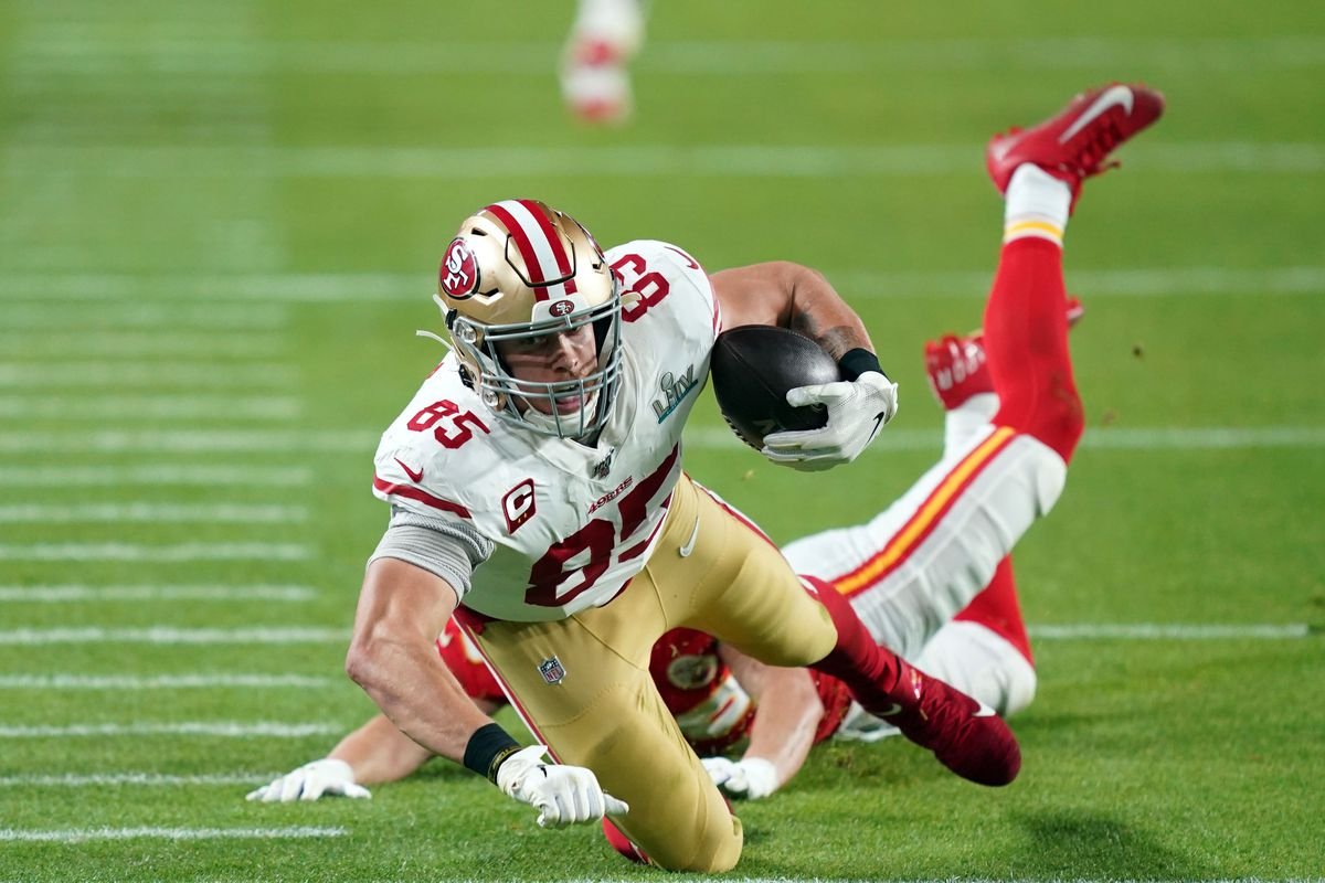 San Francisco 49ers tight end George Kittle makes a down field catch that was later reversed due to pass interference during the second quarter against the Kansas City Chiefs in Super Bowl LIV at Hard Rock Stadium.