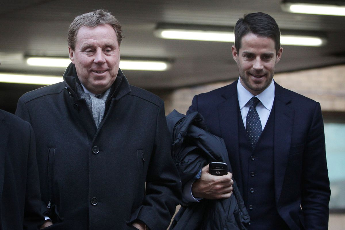 Tottenham Hotspur FC manager Harry Redknapp (L) leaves Southwark Crown Court with his son Jamie Redknapp in London, England..  (Photo by Peter Macdiarmid/Getty Images)