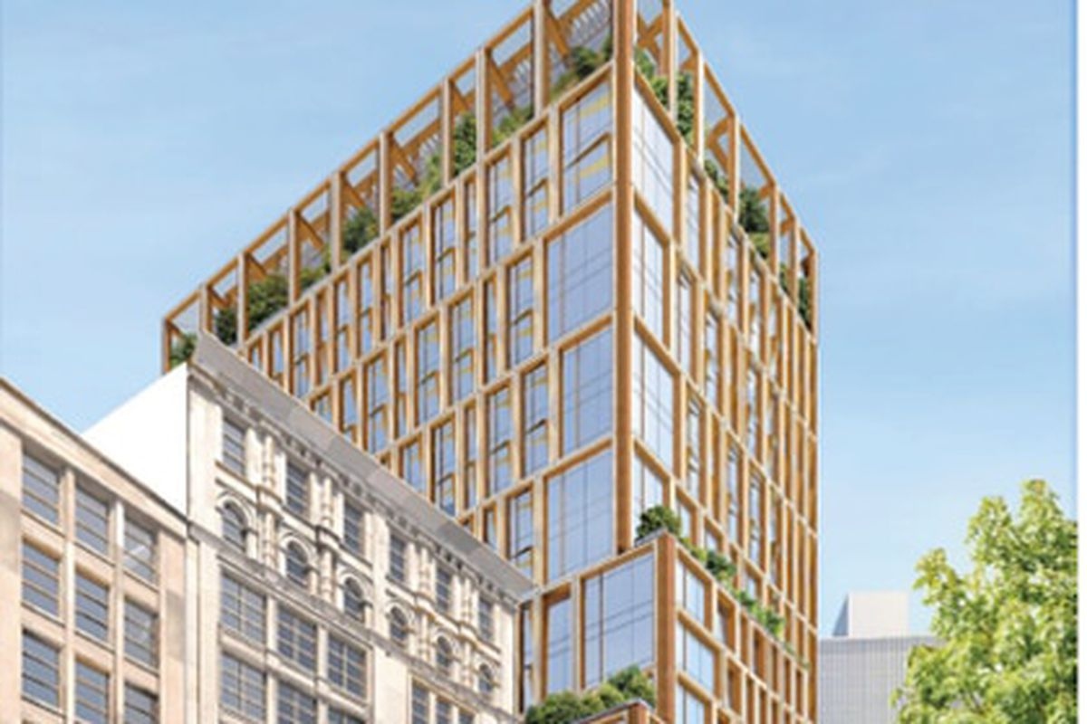 Rendering of a 21-story, mostly glass tower.