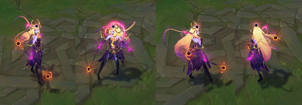 Dark Cosmic Lux's in-game model, colored with purple and golds