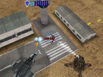 Iron Man flies away from machines shooting at him