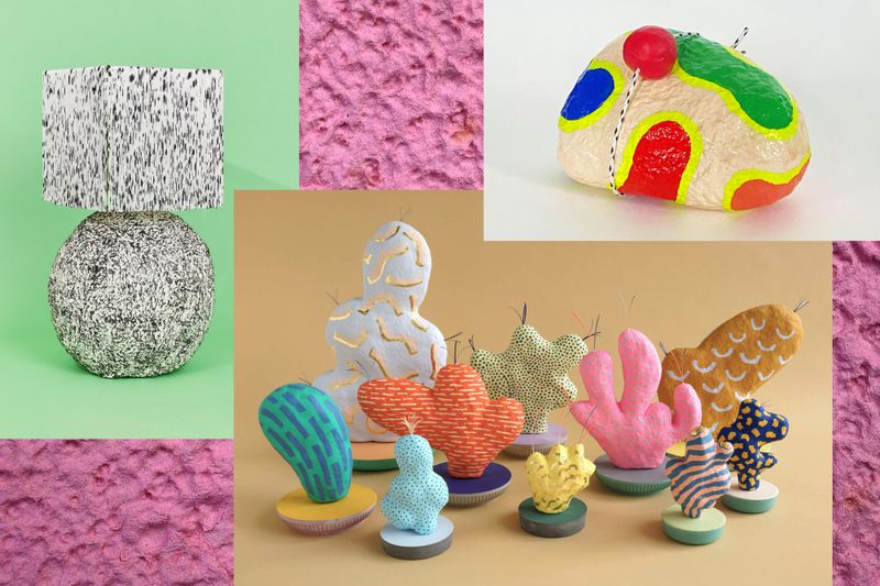 A collage showing an image of a table lamp with fringe shade and round papier-mâché base painted with a marble effect; a series of psychedelic looking cactus sculptures; and a rock painted in neon with a clown nose tied to it.