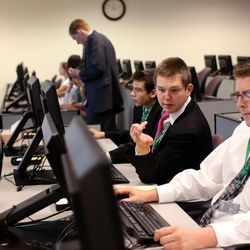 Young men and women and their leaders from The Church of Jesus Christ of Latter-day Saints participate in the world's largest indexing event at the Joseph Smith Memorial Building in Salt Lake City on Friday, July 15, 2016.  FamilySearch International has launched the world's largest indexing event with a goal of bringing more than 150,000 people from around the globe together online during a 72-hour period to save the world's records by making them searchable to the public.