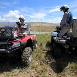 Sean Anderson and Seth Summerhays, vector control technicians with the Salt Lake City Mosquito Abatement District, prepare to spread larvicide at the Rudy Duck Club in North Salt Lake on Monday, May 11, 2020.