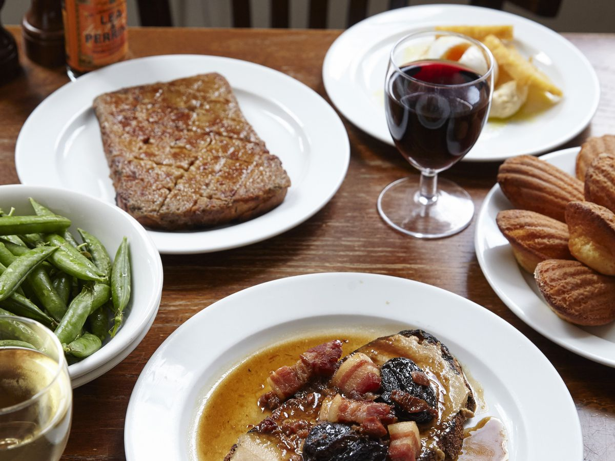 Welsh rarebit, liver toast, and madeleines at St. John Bread and Wine
