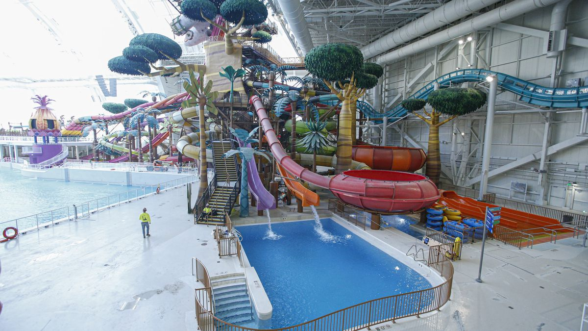 An expansive water park, one of the main features of a newly opened mega-mall in New Jersey.