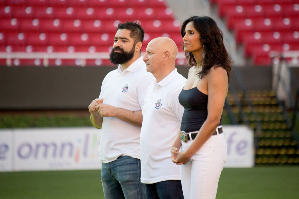the judges on a soccer field