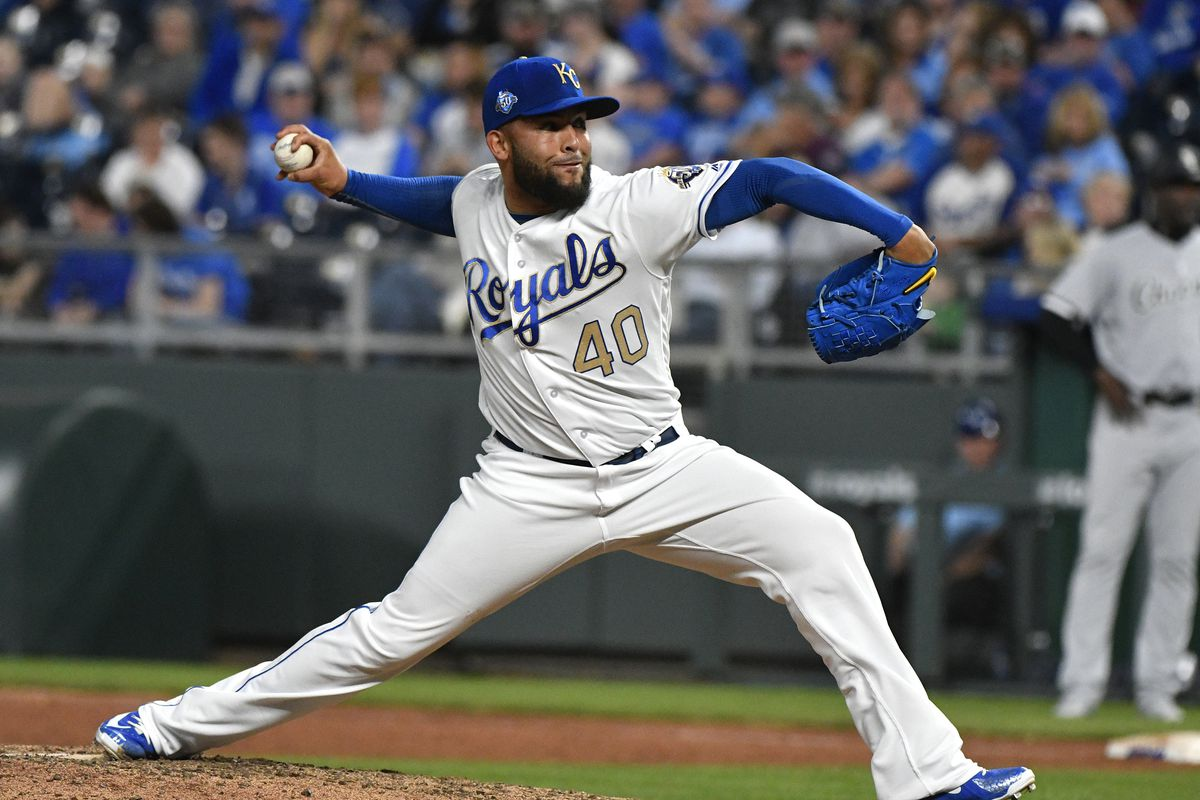 Kelvin Herrera 40 Of The Kansas City Royals Throws In Ninth Inning Against Chicago White Sox At Kauffman Stadium On April 27 2018