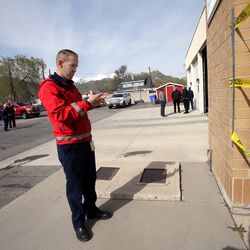 Unified Fire Authority spokesman Patrick Costin points out some of the earthquake damage to Station 102 in Magna on Friday, April 17, 2020. Unified officials announced Friday that the crews at the station, 8609 W. Main, will relocate to Station 111, 8215 W. 3500 South, less than 2 miles away, due to concerns over the recent increase in seismic activity in the area.