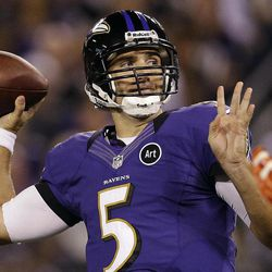 Baltimore Ravens quarterback Joe Flacco passes the ball during the first half of an NFL football game against the Cleveland Browns in Baltimore, Thursday, Sept. 27, 2012.