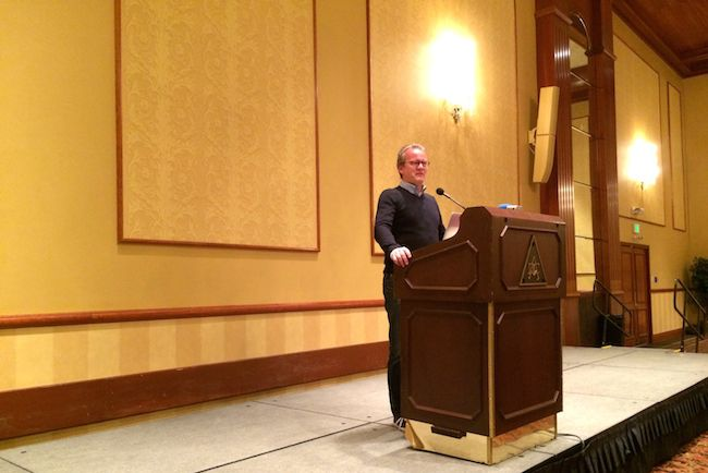 Finnish educator Pasi Sahlberg speaks at the United Opt-Out conference in Denver.