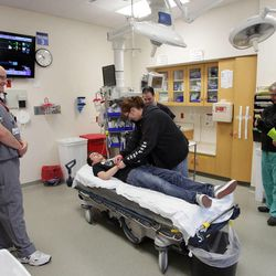 A mock injured patient is treated at Intermountain Medical Center during The Great Utah ShakeOut in Salt Lake County  Tuesday, April 17, 2012. This is the  largest earthquake drill ever conducted in Utah history.
