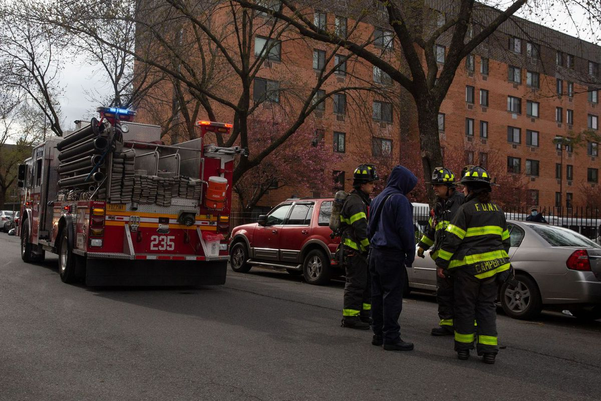 Firefighters respond to a vehicle collision in Bed-Stuy, Brooklyn, April 10, 2020.