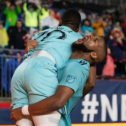 FOXBOROUGH, MA - APRIL 20: New England Revolution defender Andrew Farrell #2 celebrates with forward Cristian Penilla #70 after Penilla's second half goal against the New York Red Bulls at Gillette Stadium on April 20, 2019 in Foxborough, Massachusetts. (Photo by J. Alexander Dolan - The Bent Musket)